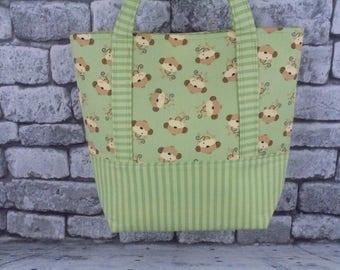 green monkey lined tote bag/diaper bag