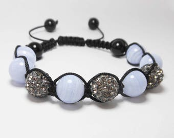 Bracelet blue chalcedony gemstone & black diamond