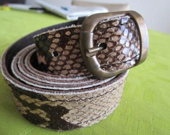 reversible lizard leather and dark brown belt