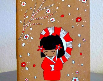 Notebook - sketchbook Japanese doll - hand painted notebook