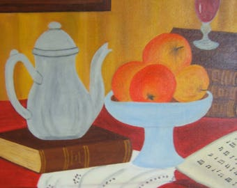 painted in oil on teapot and books