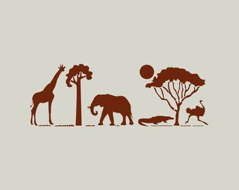 Safari stencil. Stenciled in Africa. Stencil animals from Africa. Elephant stencil. (ref 245)