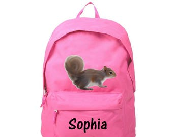 Backpack pink squirrel personalized with name