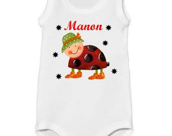 Onesie tank Ladybug personalized with name