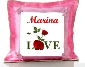 Pink cushion Love personalized with name