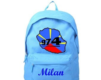 Meeting this blue backpack personalized with name