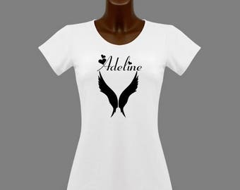White Wings women t-shirt personalized with name