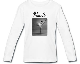 T-shirt long sleeve dancer girl personalized with name