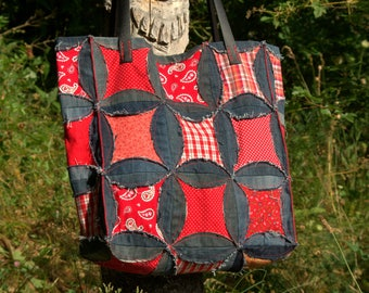 Red and blue patchwork fabric and denim tote bag