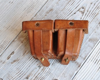 Double Leather Pouch, Dark Brown Leather Pouch, Ammunition Pouch, Tan Brown Leather Pouch, Made of Brown Genuine Leather, Ammunition pouch