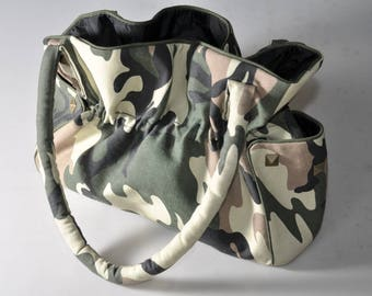 "Shoulder bag purse, handbag, bag hand printed cotton khaki/beige/black canvas ""Camouflage"""