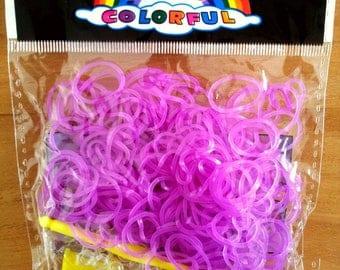 260 purple translucent elastic - 10 - 1 hook - 1 stand loom clasps