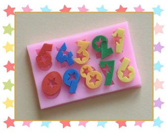 Silicone mold: starred numbers from 0 to 9