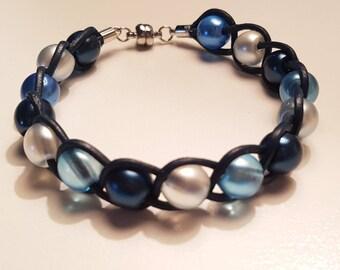 Turquoise beaded leather bracelet turquoise blue white glass