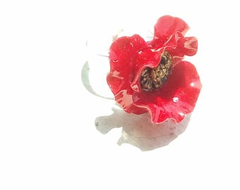 Ring: Poppy red and gold - cold porcelain