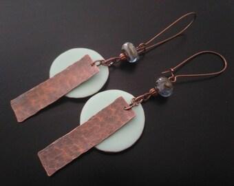 Hammered copper - Lampwork Glass Beads - polymer pendants earrings.