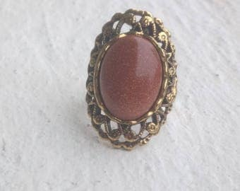 Gold lace ring: Sunstone