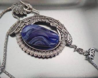 Silver Peacock - necklace of beautiful wingspan Splendors
