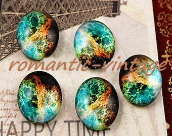 "2 cabochons ""nebula"", 12mm glass domes"