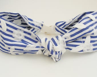 Blue stripes and white embroidered flowers turban headband