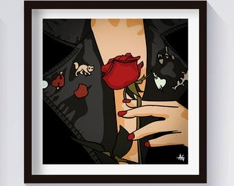 Leather Rose Print