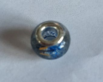 Blue and gold MURANO glass bead