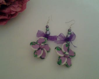 large flowers, pearls and Ribbon earrings