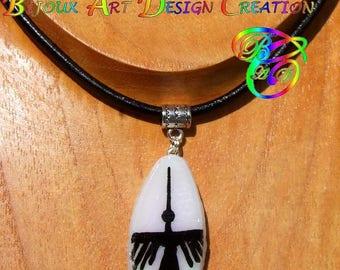 """Black leather Choker necklace and pendant handmade Nazca Geoglyph""Hummingbird"""""