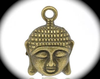 10 bronze relief 22x20mm Buddha head charms