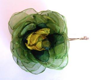 Barrette, a flower organza in my hair