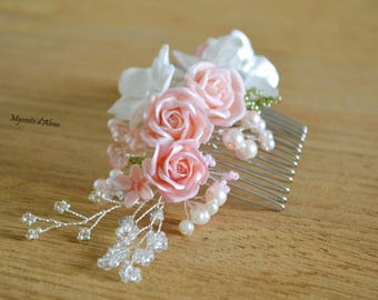 White, pink, flower with pearls and crystals hair comb