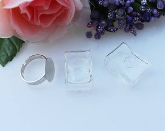 1 set ring square glass and backing: BAG 0048