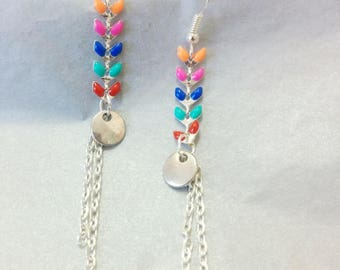 chain earrings - spike + sequin chain and metal