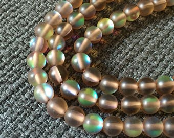 10 FLASH 6 mm beads, frosted brown glass / round glass beads, fashion 2017 2018, kids pearl beads, little girls, aqua aura