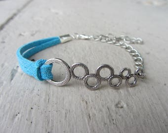 """Suede strap turquoise glitter, silver chain and spacer in Silver """"bubbles"""", blue and silver, adjustable bracelet"""