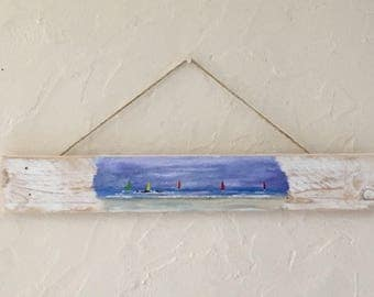 Sail the sea - art painting on pallet wood
