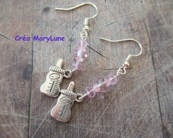 Pink bottle Earrings with surgical steel hooks