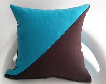 Cushion cover 35 x 35 cm. turquoise and Brown linen fabric