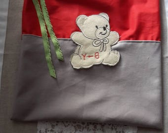Child bag grey and Red; pattern bear; closure elastic/snack/storage bag