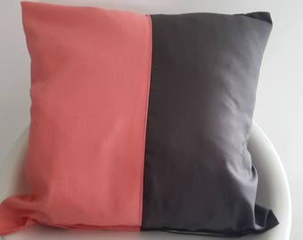Cushion cover 40 x 40 cm coral and plum
