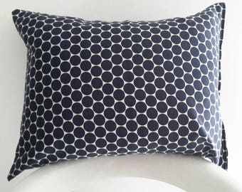 Cushion cover 45 x 35 cm, silky cotton sateen. Navy Blue and white