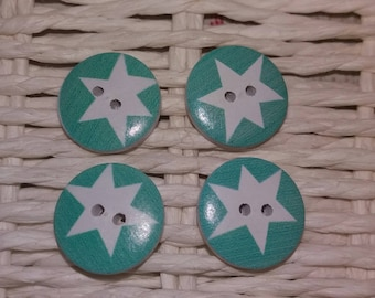 set of 4 buttons blue white star
