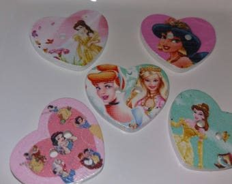 set of 5 embellishments princesses wooden buttons