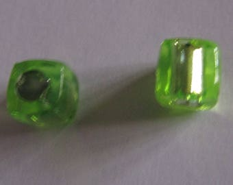 10 transparent green cube 8mm