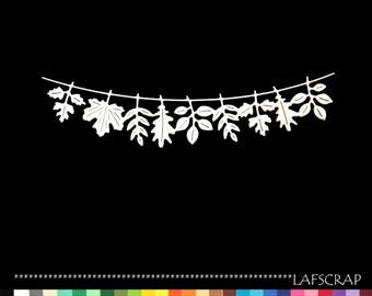 2 cut scrapbooking scrap Garland leaves cut paper embellishment die cut creation