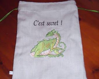 Drawsting bag for little boys grey linen