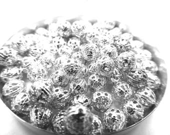 103 beads perforated metal silver 6 mm in diameter
