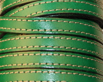 20 cm flat leather strap 10 green mmms with stitching