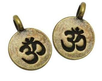 2 charms pendant Mantra Aum Ohm symbol Yoga 11 mm antique bronze
