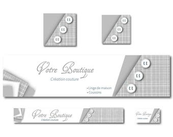 Gray and white - couture sewing banner shop banner
